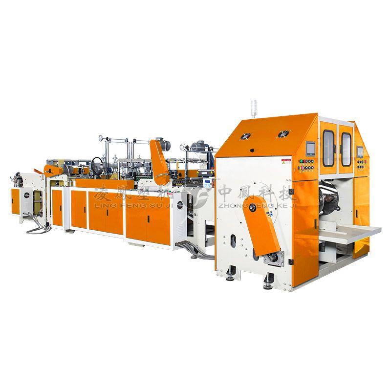 Full-automatic Double Line T-shirt Rolling Bag Making Machine with Core